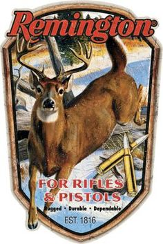"The Remington Rifles and Pistols Tin Sign displays a bruiser of a buck along with the long-standing Remington logo. 100% tin construction. Imported. 13""H x 8.7""W"