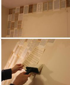 diy book pages and sheet music wallpaper to decorate bedroom...This will be my spare room/craft room/office!