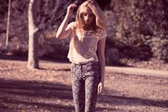 Pair a lace top with floral skinnies for a flirty summer look #Weekend