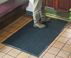 """Raised-square or """"waffle"""" pattern superbly removes dirt and moisture Polypropylene surface material dries quickly and will not fade nor rot Floor mat's water dam border can hold Entry Mats, Entrance Mats, Garage Floor Mats, Water Dam, Indoor Door Mats, Cheap Patio Furniture, Target Rug, Personalized Door Mats, Clean Shoes"""