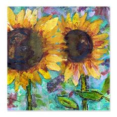 Sunflower Friends Bathroom Shower Curtain    This floral shower curtain adds perfect colorful touches to your modern home decor. The sunflower garden art also pictures violet flowers. Colors: turquoise, aqua-blue, chartreuse green, yellow  $49.99