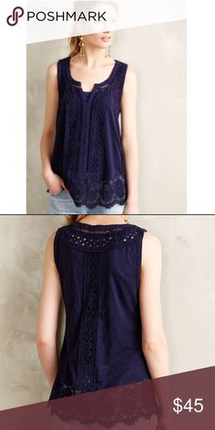 Ladder Lace Navy Tank With dainty lace detailing pullover styling  made in India by Meadow Rue Anthropologie Tops Tank Tops