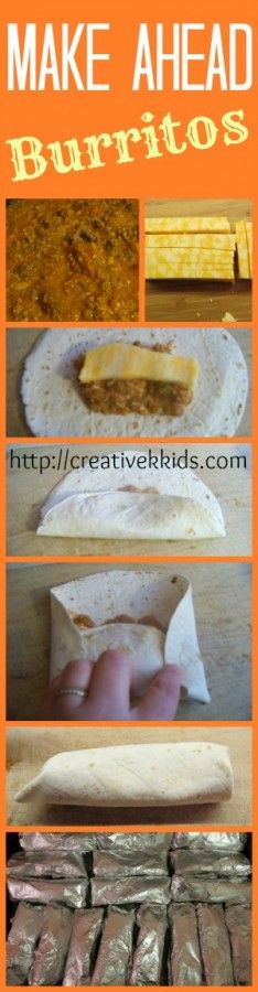 Make Ahead Burritos! Make a whole batch of burritos, bake them, freeze them, and rewarm by oven or microwave!