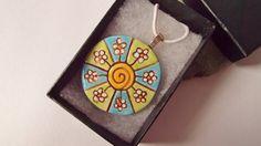 Ceramic Blue Green Daisy Flower Mandala Pendant by RowanSongCrafts