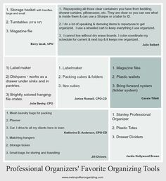Professional Organizers' share with Geralin Thomas their Favorite Organizing Tools. What's in your Pro Organizer toolkit?