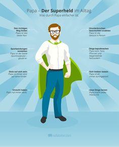 Papa ist der Superheld des Alltags. (http://magazin.sofatutor.com/schueler/2015/05/11/zum-vatertag-eine-infografik-fuer-einen-superhelden/)