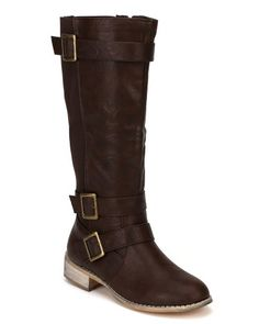Leatherette Fashion Bug Buckle Round Toe Knee High Boot - Brown