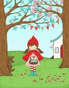 Little Red Riding Hood Illustration. $20.00, via Etsy by Tasha Noel