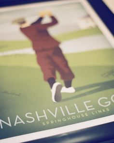 Guests jotted their well wishes to this couple on a vintage Nashville golf print