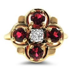 The Julienas Ring, 1930's Victorian, diamond, rubies