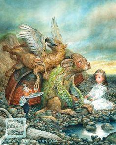 The Mock Turtle (print) Alice in Wonderland by StudioRayyan on Etsy https://www.etsy.com/listing/235792719/the-mock-turtle-print-alice-in