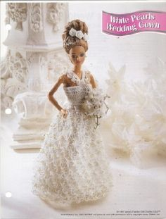 free crochet wedding gowns for barbie dolls