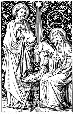 Woodcuts, Engravings, and Illustrations Christian Images, Christian Art, Catholic Art, Religious Art, A Christmas Story, Christmas Colors, Adult Coloring, Coloring Books, Free Coloring