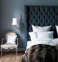 Amazing headboard: luxurious bedroom ok what if you used a couple folding screens and made it so that they wrapped around the top of the bed, upholstered them in some gorgeous velvet turquoise maybe...and then draped something dreamy over the top like sari silk...hmmm