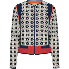 Tory Burch Rainford fil coupé jacquard jacket (525,820 KRW) ❤ liked on Polyvore featuring outerwear, jackets, navy, tory burch, white quilted jackets, quilted jacket, navy quilted jacket and colorful jackets