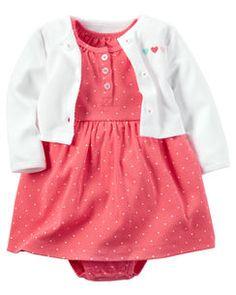 2-Piece Babysoft Bodysuit Dress & Cardigan Set