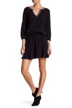 Image of Soft Joie Split V-Neck 3/4 Sleeve Dress
