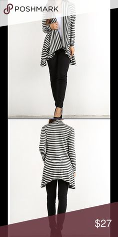 🆕 Stripe Pocket Sidetail Cardigan Gorgeous draping cut & sidetail hem that is flattering to all body types. Pockets on both sides. Black & white stripes. Classic colors for easy wardrobe matching. 58% polyester 37% Rayon 5% Spandex. Hand wash. Hang dry. Very comfortable knit material. Pretty Young Thing Sweaters Cardigans