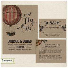 Love this new design by CarabellaCreative!  Vintage Hot Air Balloon Wedding Invitation, RSVP & Enclosure Card