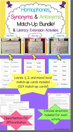 Interactive bundle of match-up and extension activities to teach/review synonyms, antonyms and homophones!