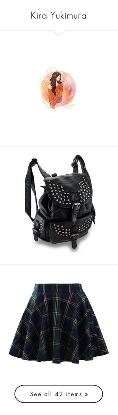 """""""Kira Yukimura"""" by lucyhalliday ❤ liked on Polyvore featuring bags, backpacks, accessories, purses, draw string bag, studded leather backpack, fake bags, buckle backpacks, faux leather studded backpack and skirts"""