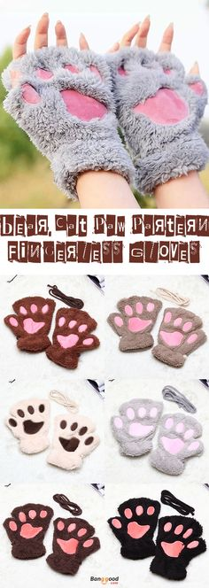 US$4.98+ Free shipping. Material: Plush + Polyester. Color: Beige, Black, Brown, Khaki, Coffee,Gray. Fall in love with warm and cute style! Women Girls Fluffy Plush Bear Cat Paw Fingerless Gloves Paw Glove Winter Warm Mittens.