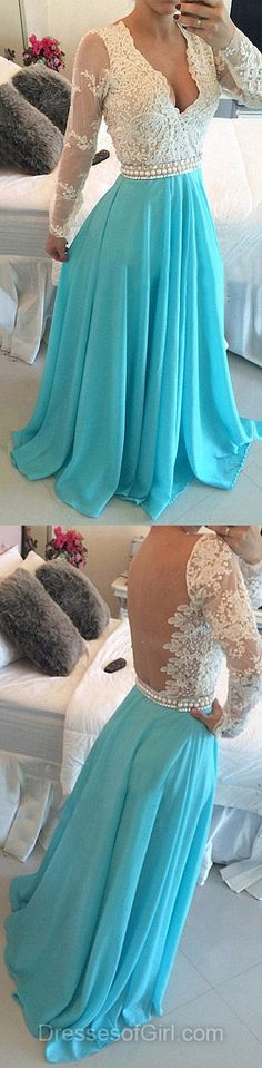 V Neck Prom Dresses, Open Back Prom Dress, Blue Evening Gowns, Chiffon Party Dresses, Long Sleeve Formal Dresses