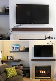 to Hide TV Cords Once and For All! Super easy how to hide those ugly tv cords. Full tutorial with supply list included!Super easy how to hide those ugly tv cords. Full tutorial with supply list included! Hide Tv Cords, Hide Wires, Hiding Tv Cords On Wall, Hide Tv Cables, Hiding Wires Mounted Tv, Hiding Cables, Tv Over Fireplace, Fireplace Mounted Tv, Simple Fireplace