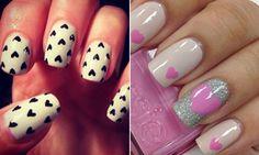 Unhas decoradas: nail art de coração é tendência