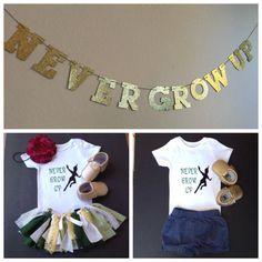 Peter Pan Shirt onesie, first birthday, peter pan birthday, peter pan nursery, Never Grow Up, peter pan baby by FoxyLittleRascals on Etsy https://www.etsy.com/listing/387384924/peter-pan-shirt-onesie-first-birthday