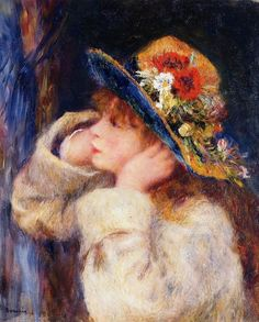 young girl with a hat decorated with wild flowers