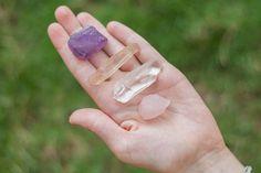 Four Stone Healing Set Amethyst Smoky Clear Rose by alohagaia, $12.00