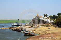 Photo about Life and Transportation in Ayeyarwaddy River Near Sagaing Hill on Mandalay side, Myanmar. Image of transportation, hill, scenic - 58145112 Mandalay, Opera House, Transportation, River, Stock Photos, Landscape, Building, Image, Scenery