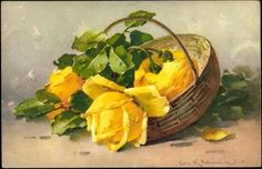 Artist Postcard Catharina Klein, Gelbe Rosen im Korb buy now for only - postally unused, blotchy, corners bumped, otherwise good condition Catherine Klein, Beautiful Flower Quotes, Beautiful Images, Decoupage, Rose Basket, Popular Flowers, Cow Art, Watercolor Rose, Yellow Roses