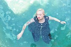 Beautiful Girl Swimming in Retro Dress Dream by PhotosbyMarilyn