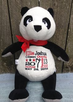 Personalized Baby Gift Panda Bear New Baby Birth Announcement by WorldClassEmbroidery, $41.99