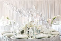 aboutdetaildetails.com | California Wedding | The Ritz-Carlton Laguna Niguel | Jasmine Star Photography | Laguna Wedding | All White Wedding | Modern Wedding | Contemporary | Reception | White Draped Wall | Paper Flowers | Flower Wall | Orchid Center Pieces | Mirrored Tables | Acrylic Chairs |