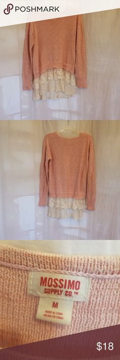 Mossimo-Pale Pink Sweater -M Beautifully detail of white,  ruffled lace on bottom. Loose fitting and flattering. Sweaters