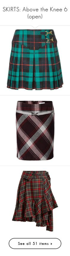 """""""SKIRTS: Above the Knee 6 (open)"""" by ravenlancaster ❤ liked on Polyvore featuring skirts, bottoms, green, esteban cortazar, knee length pleated skirt, blue pleated skirt, pleated skirt, blue green skirt, red multi and plaid wrap skirt"""