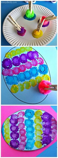 Pom Pom Easter Egg Painting Craft for Kids - Crafty Morning Basteln mit Kindern: Mit PomPoms Ostereier aufs Papier tupfen Make awesome Easter egg prints using pom poms, clothespins and paint! Painting Crafts For Kids, Preschool Art Projects, Preschool Crafts, Art For Kids, Craft Projects, Craft Ideas, Easter Activities, Preschool Worksheets, Kids Fun