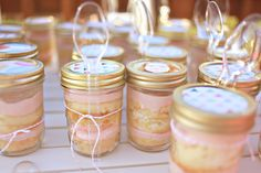 Birthday cake in jars. Recipe not posted on blog yet. Will change link when/if I spot it. (looks like simple layered cake rounds and frosting in mason jars, with spoon tied to sealed jar).