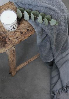 Antique Elm wooden stool & Dyptique candle