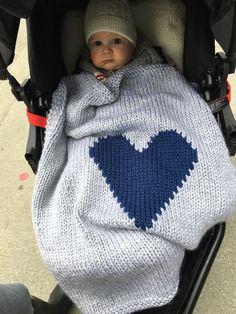 Knitted Grey with Navy Blue Heart Baby Blanket for Bassinet or
