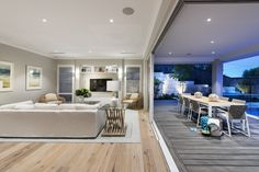 Living and alfresco in The Islander display home by Webb & Brown-Neaves.