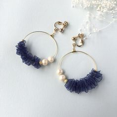 ribbon frill イヤリング #handmadejewelry