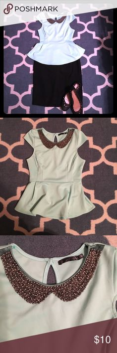 Peter Pan Mint Colored Peplum Top Size Small Purchased this beautiful Top on Posh. I'm devastated it doesn't fit. The top is tagged as Medium, but it definitely fits like a small 😢 Tops Blouses