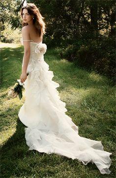 Carmen Marc Valvo 'Cody' Silk Gazar Gown #wedding