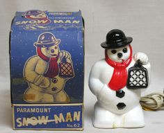 Vintage Christmas Paramount Snowman Light in Box 1950 Looks like a thug stealing some ladies purse.  clb