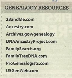 Geneaology Resources. Must try them all and then some.