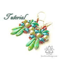 PDF Tutorial Fiesta Earrings with DiamonDuos, Crescent Beads and Two-hole Dagger Beads. Pattern, Instructions, beadwork. English Only, by IceniBeadDesign on Etsy https://www.etsy.com/listing/465186725/pdf-tutorial-fiesta-earrings-with